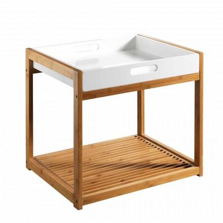 Tavolino da Salotto Moderno in Legno di Bambù con Vassoio in Mdf Bianco - Volly