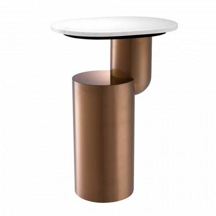 Tavolino da Salotto Moderno in Marmo Bianco con Base Finitura Rame - Cosenza