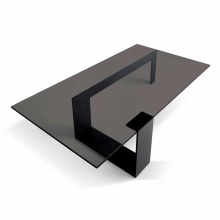 Tavolino da Salotto Moderno Piano Vetro Fumè e Base Metallo Made in Italy – Scoby