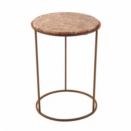 Tavolino da Salotto Moderno Rotondo in Metallo e Marmo di Alta Qualità- Raphael
