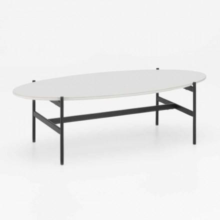 Tavolino da Salotto Ovale di Design Moderno con Piano in Ceramica – Donatella