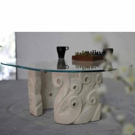 Tavolino ovale in Pietra di Vicenza e cristallo,scolpito a mano Lindos