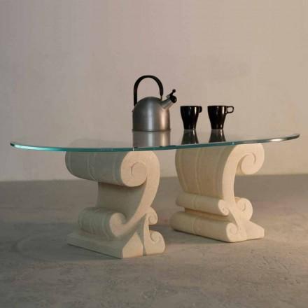 Tavolino ovale scolpito a mano Pietra di Vicenza e cristallo Aracne-S