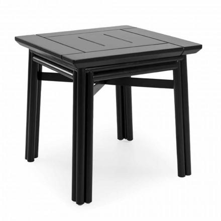 Tavolino da Salotto per Esterno in Legno Naturale o Nero, 2 Misure - Suzana