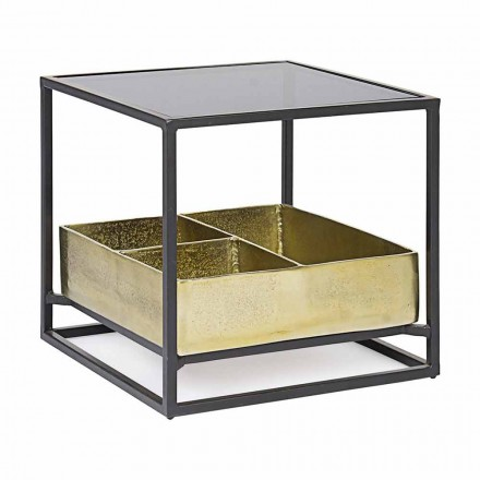 Tavolino da Salotto Quadrato con Piano in Vetro Homemotion - Sigismondo