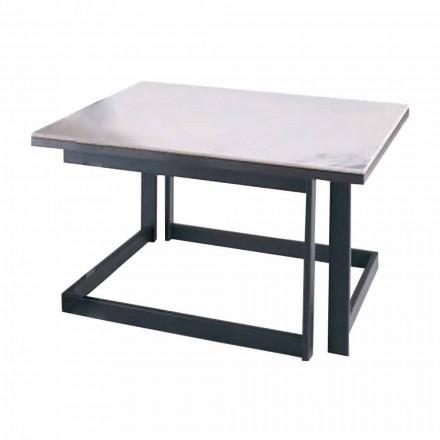 Tavolino da Salotto Quadrato in Gres con Base in Metallo Made in Italy - Albert