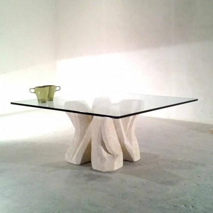 Tavolino quadrato in Pietra di Vicenza e cristallo scolpito a mano Kos