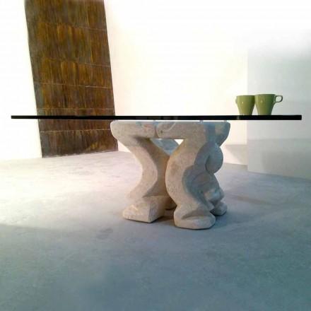 Tavolino quadrato scolpito a mano in Pietra di Vicenza Medusa-S