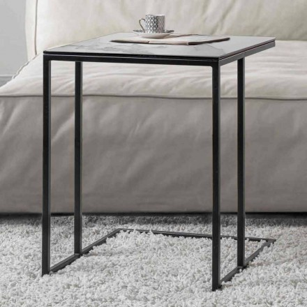Tavolino da Salotto Quadrato in Vetro Ceramica con Base in Metallo - Anselmo
