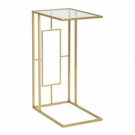 Tavolino da Salotto Rettangolare in Ferro e Vetro Moderno - Albertino