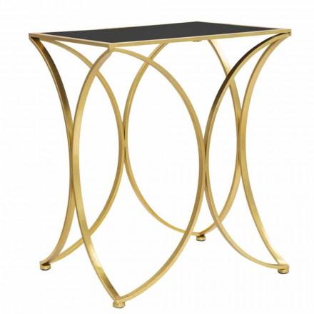 Tavolino da Salotto Rettangolare Moderno in Ferro e Specchio - Amice