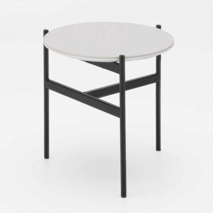Tavolino da Salotto Rontondo in Ceramica e Metallo di Design Moderno – Gaduci