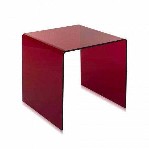Tavolino Da Soggiorno Rosso.Tavolino Da Salotto Rosso Moderno 40x40cm Terry Small Made In Italy
