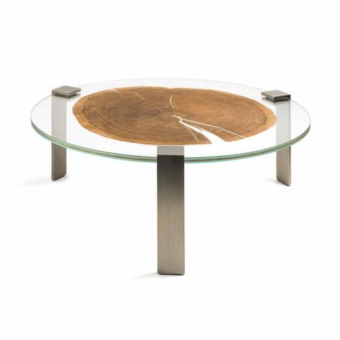 Tavolino Da Salotto In Legno.Tavolino Da Salotto Rotondo Basso Con Piano In Vetro E Legno Buck