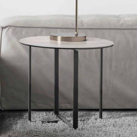 Tavolino da Salotto Rotondo con Piano in Vetro Ceramica Bianco Marmo - Anselmo