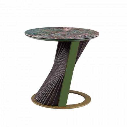 Tavolino da Salotto Rotondo di Lusso in Gres e Frassino Made in Italy  - Bering