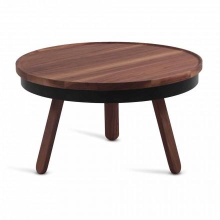 Tavolino da Salotto Rotondo di Design in Legno Massello e Metallo - Salerno