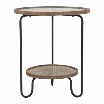Tavolino da Salotto Rotondo in Ferro e MDF di Design Moderno - Luther