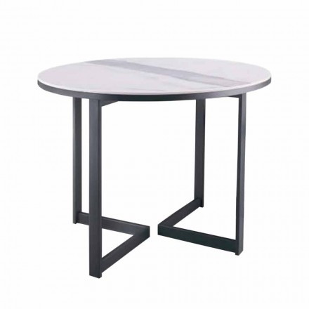 Tavolino da Salotto Rotondo in Gres e Metallo Moderno Made in Italy - Albert