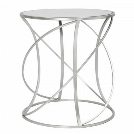 Tavolino da Salotto Rotondo Stile Moderno in Ferro e Specchio - Cymone
