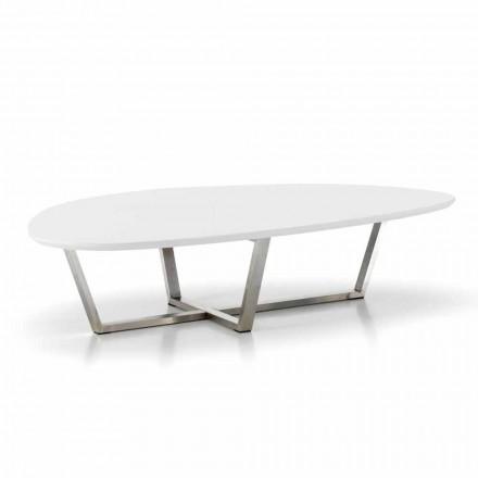 Tavolino da Salotto Sagomato Moderno con Piano in Mdf Bianco – Prontolo