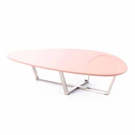 Tavolino da Salotto Sagomato Moderno in Mdf e Metallo Cromato – Pimpa