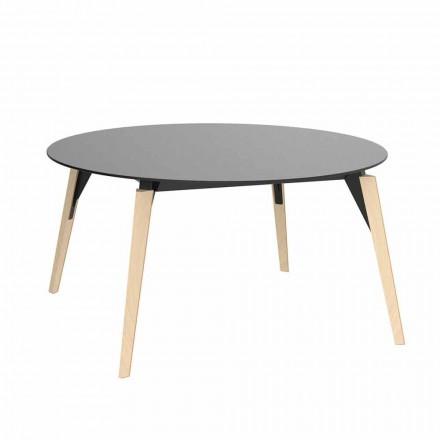 Tavolino da Salotto Tondo in Legno e Piano Hpl in 2 Misure - Faz Wood by Vondom