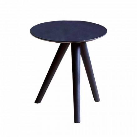 Tavolino da Salotto Tondo in Legno Laccato Grigio Nero Made in Italy - Stoccarda