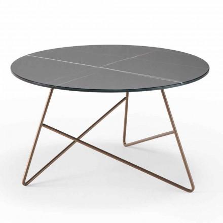 Tavolino da Salotto Tondo in Metallo e Piano in Vetro Effetto Marmo - Magali