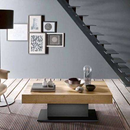 Tavolino da Salotto Trasformabile in Legno e Acciaio Made in Italy - Demetro
