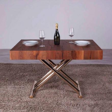 Tavolino da Salotto Trasformabile in Legno e Metallo Made in Italy - Patroclo