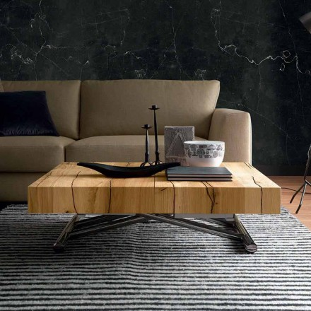 Tavolino da Salotto Trasformabile in Legno Massiccio Made in Italy - Trabucco