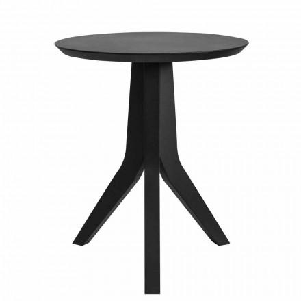 Tavolino da Soggiorno di Legno Laccato Nero Design Tondo Moderno - Sperone