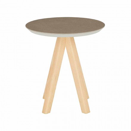 Tavolino da Soggiorno Tondo in Legno Frassino e Piano in Ceramica - Amerigo