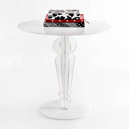 Tavolino design classico, in cristallo acrilico H 64cm, Cles