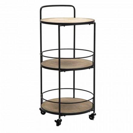 Tavolino Design Moderno in Ferro e MDF con Ruote e 3 Ripiani - Lennox