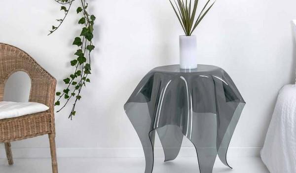 Tavolino design moderno in plexiglass fumé otto made in italy