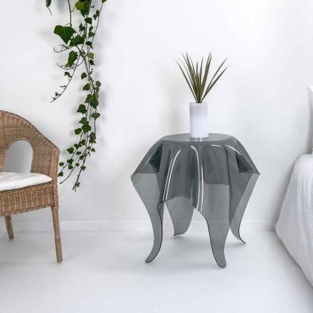 Tavolino design moderno in plexiglass fumé Otto, made in Italy