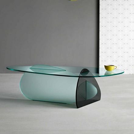 Tavolino di Design in Vetro Trasparente, Fumè ed Acidato Made in Italy – Tac Tac