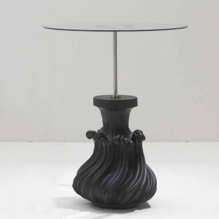 Tavolino in cristallo/legno massello nero sabbiato,diametro 60,Margo