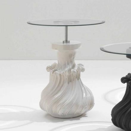 Tavolino in legno massello e cristallo bianco,diametro 60cm,Margo