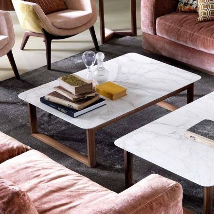 Tavolino in legno massello e marmo design Grilli York fatto in Italia