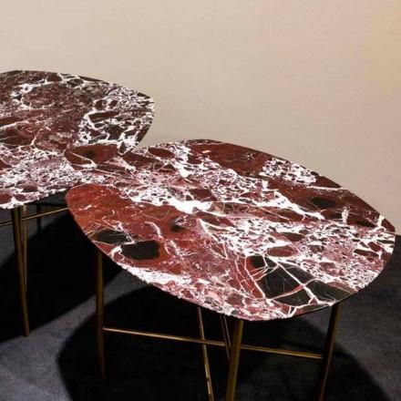 Tavolino in Marmo Rosso di Levanto e Metallo Made in Italy, di Design - Morbello