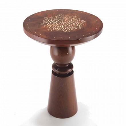 Tavolino di design con piano decoro in ottone,diametro 45 cm,Sanni