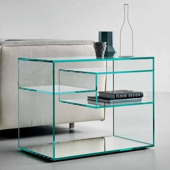 Tavolino Lato Divano o Comodino in Vetro Extrachiaro Base a Specchio - Linzy