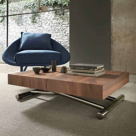 Tavolino Trasformabile Moderno in Legno e Metallo, Made in Italy - Spirit