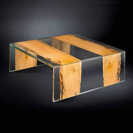 Tavolino moderno in vetro e legno di Briccola Veneziana