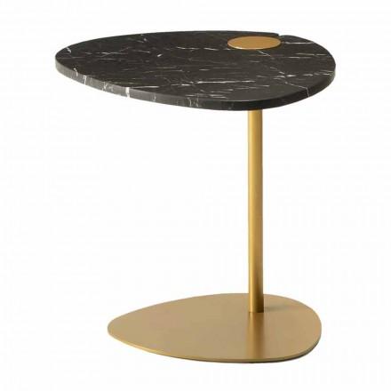 Tavolino per Salotto in Metallo e Marmo di Marquinia, Design di Lusso - Yassine