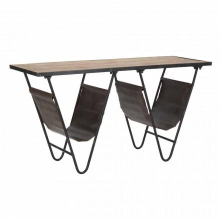 Tavolino Porta Giornali di Design in Ferro Legno e Ecopelle - Marilena