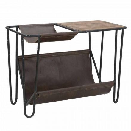 Tavolino Porta Giornali Vintage in Ferro ed Ecopelle - Merica